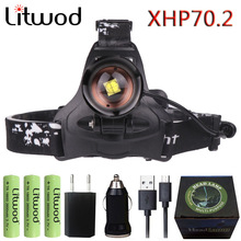Litwod 2806 Z30 New arrive XHP70.2 32W 3200lm powerful Led headlamp Headlight zoom head lamp light flashlight torch Lantern