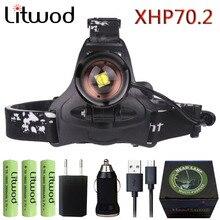 Litwod 2806 Z30 جديد وصول XHP70.2 32 واط 3200lm قوية Led كشافات العلوي التكبير رئيس ضوء المصباح مصباح يدوي الشعلة فانوس