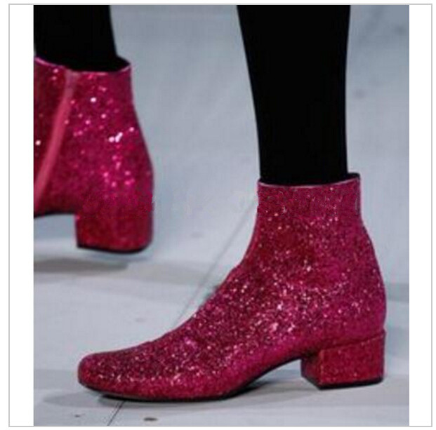 beautiful T-stage Women Glitter Ankle Boots Square Heels Sparkly Booties Fall Winter Feminino Botas Red Silver Gold Shoes Womanbeautiful T-stage Women Glitter Ankle Boots Square Heels Sparkly Booties Fall Winter Feminino Botas Red Silver Gold Shoes Woman