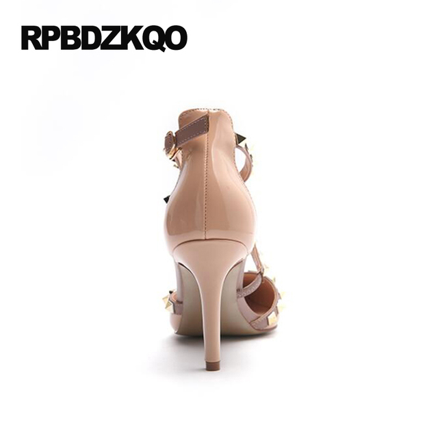 Runway Scarpin Nude High Heels Pointed Toe Rivet Pumps Fashion Brand Women Shoes 2017 Italian Ankle Strap Big Size 9 41 Stud