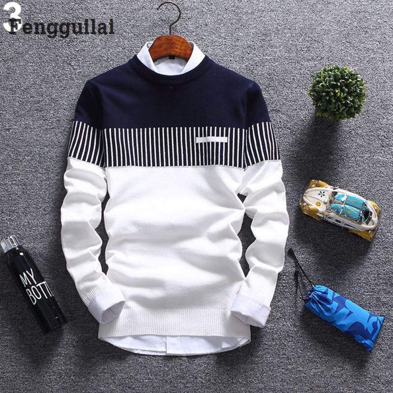 New Korean Fashion Cardigan Sweater Jumper Men Knit Pullover Coat Long Sleeve Sweater #3