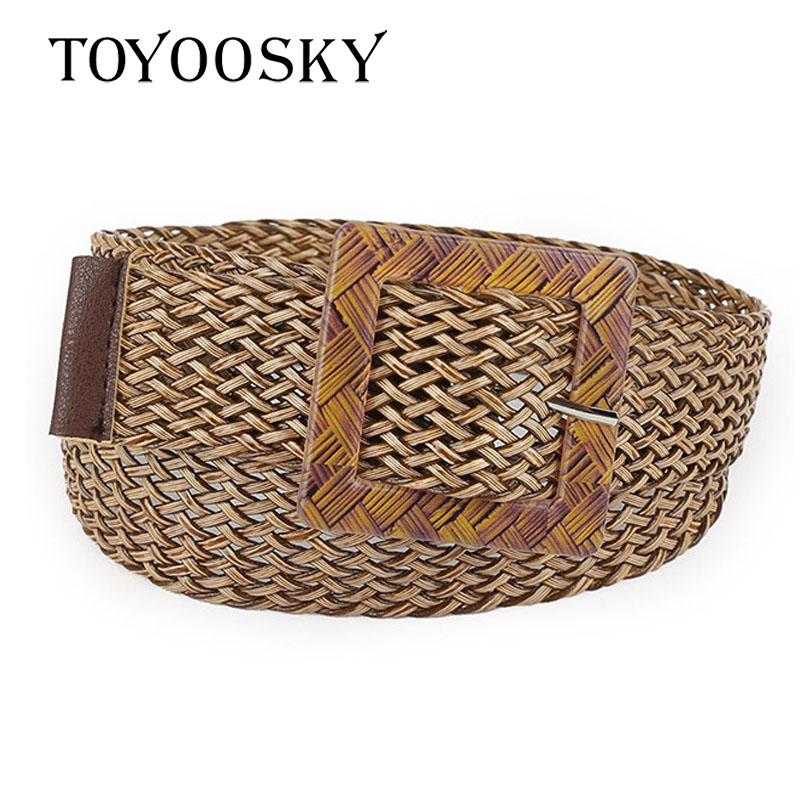 2018 New Arrival Fashion Fabric Knitted Women Belts Leisure for Jeans Wild Belt Smooth Buckle Wood Belts for Women TOYOOSKY in Women 39 s Belts from Apparel Accessories