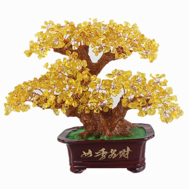 Натуральный желтый кристалл богатых дерево Счастливое дерево открытие подарок дома ТВ кабинет декоративно прикладного искусства и ремесл