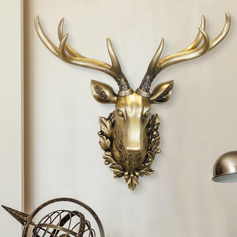 3D Deer Head Sculpture Peintures Murales La Maison tenture Animal Statue Décoration De Résine À La Main Européenne Village Ornement Motifs Artisanat