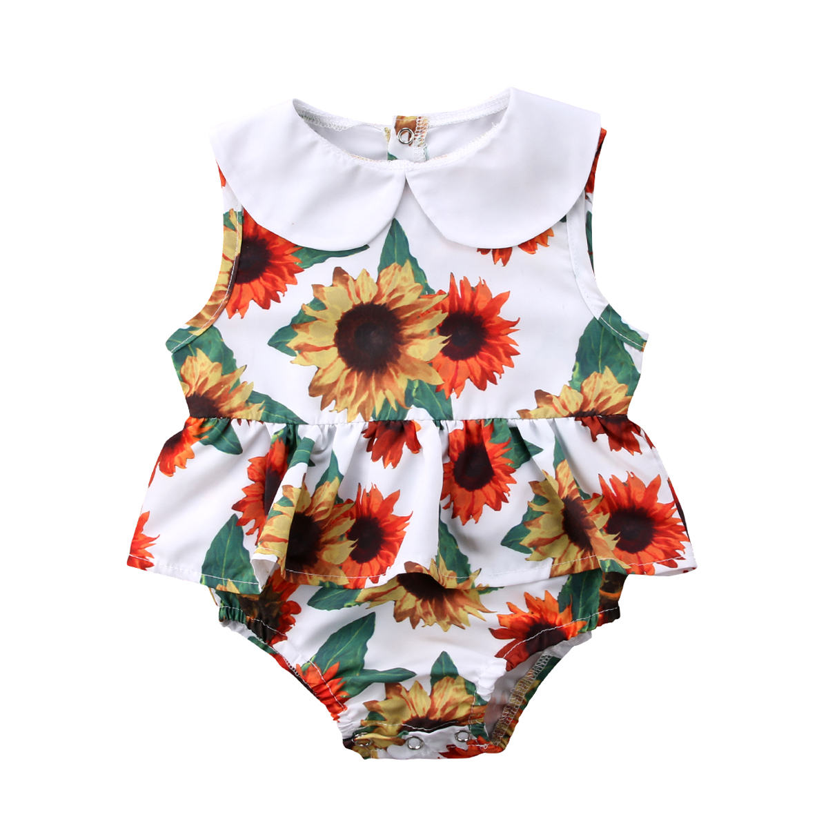 Pudcoco Summer New Sunflower Newborn Infant Baby Girls   Romper   Cute Ruffles Sleeveless Jumpsuit Summer Clothes