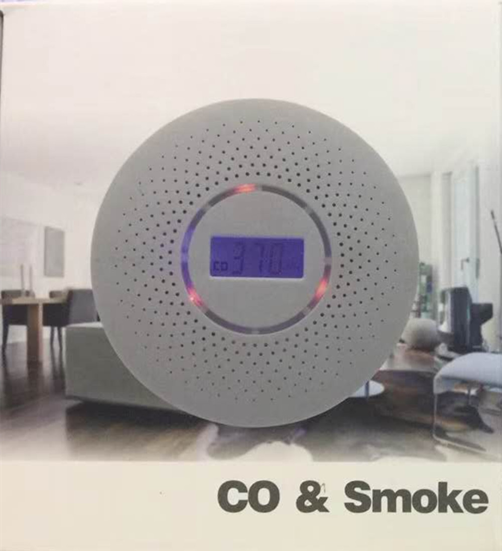 CO & Smoke Detector Dual Purpose LCD Display ...