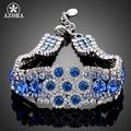 AZORA Platinum Plated Full of Blue Stellux Austrian Crystal Flower Design Bracelet TS0014