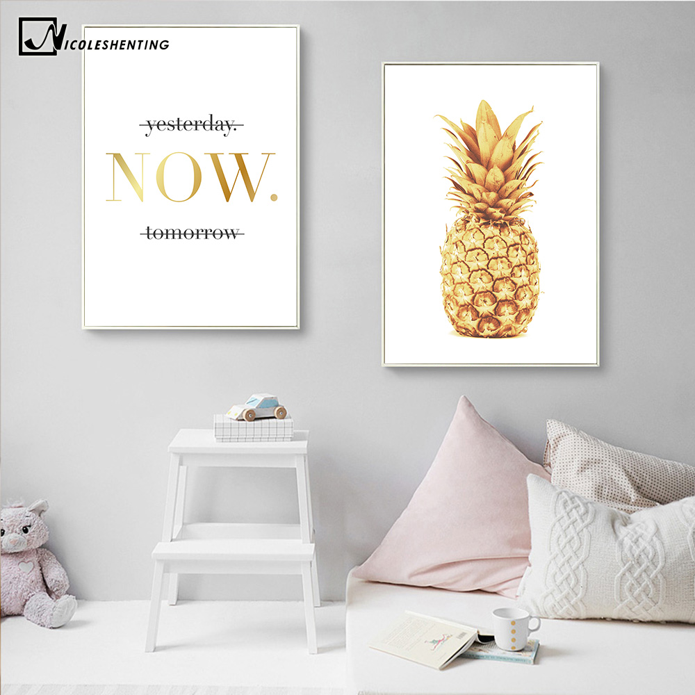 Pineapple Motivational Quotes Minimalist Nordic Poster Wall Art Canvas Painting Modern Picture Print Home Office Room Decoration image