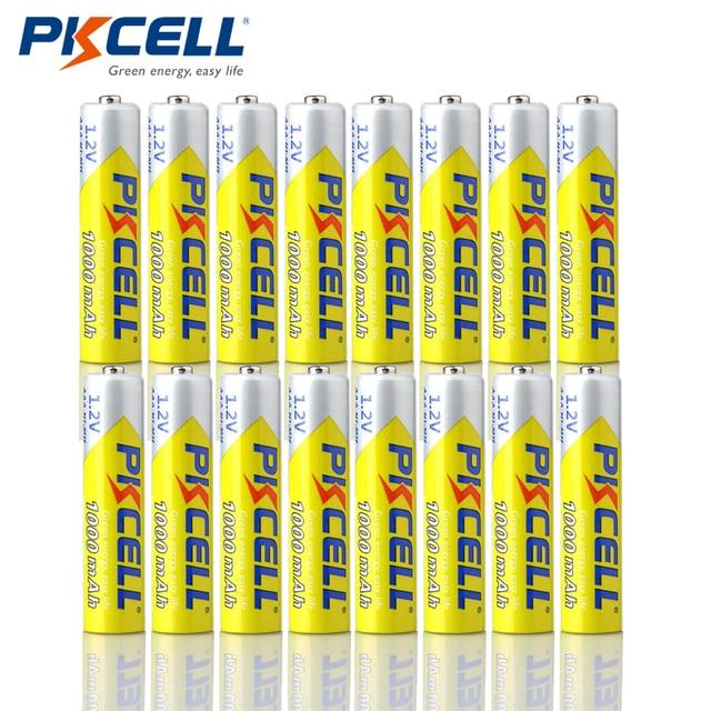 16pcs/Lot PKCELL High Energy 1.2V 1000mAh NiMh AAA Rechargeable Battery Ni-mh 3A Batteries Battria