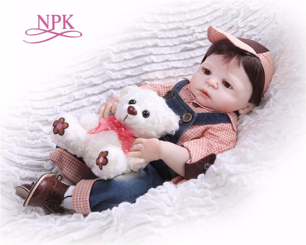 NPK57CM muñeca de cuerpo completo de silicona Boneca Reborn estilo preppy Reborn Baby doll juguetes Lifelike niño cumpleaños regalo de Navidad juguete caliente-in Muñecas from Juguetes y pasatiempos    1