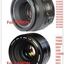 Объектив YONGNUO YN50mm F1.8 с большой апертурой и автофокусом для Nikon D800 D300 D700 D3200 D3300 D5100 D5200 D5300 DSLR