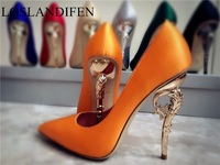 2018 Newest women silk party wedding shoes chic seahorse heel pumps green orange red black blue sexy high heels zapatos mujer