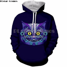 PLstar Cosmos New Fashion Men/women Funny Print Cheshire Cat Smile Face Hoodies Sweatshirt 3d drop shipping