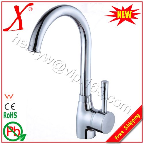 X8510K2 Deck Mounted Chrome Finish Brass Material Hot Cold Water Kitchen Faucet