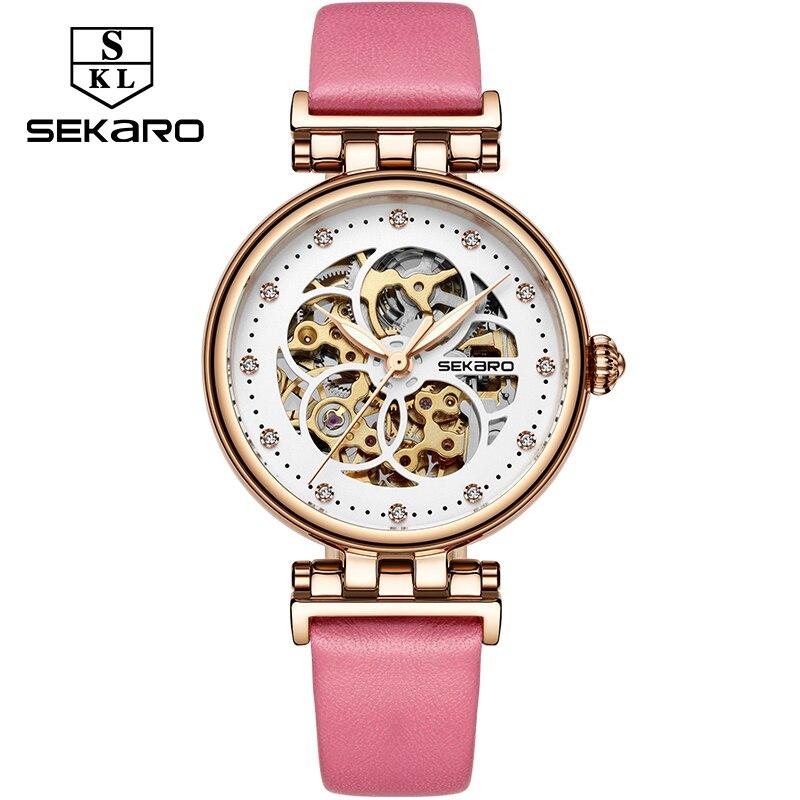 bfca3d9b669a SEKARO de las mujeres de la marca de relojes mecánicos de mano de las  señoras-cuerda pulsera de moda 2019 Dial esqueleto