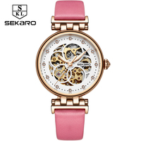 SEKARO Brand Women Mechanical Watches Diamond Ladies hand winding Wristwatches 2017 Fashion Skeleton Dial Gift for Female