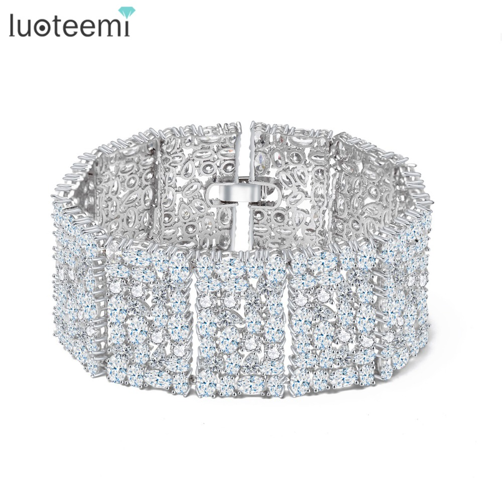 LUOTEEMI New Big Luxurious Jewelry Full Shining Cubic Zircon White Gold-Color Link Chain Bracelet for Women Wedding BangleLUOTEEMI New Big Luxurious Jewelry Full Shining Cubic Zircon White Gold-Color Link Chain Bracelet for Women Wedding Bangle