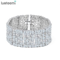 LUOTEEMI New Big Luxurious Jewelry Full Shining Cubic Zircon White Gold Color Link Chain Bracelet for Women Wedding Bangle