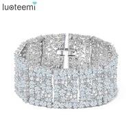 Teemi 2016 New Big Luxurious Jewelry Full Shining Cubic Zircon White Gold Plated Link Chain Bracelet