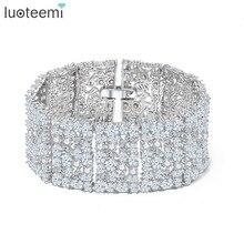 LUOTEEMI nowa duża luksusowa biżuteria pełna lśniąca Cubic cyrkon biały złoty kolor Link Chain bransoletka dla kobiet Wedding Bangle