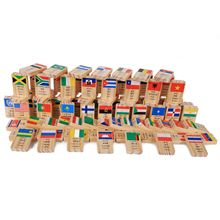 MWZ 100 шт. многоязычный Национальный флаг деревянное домино игрушки понимание мира домино раннее образование Когнитивная т