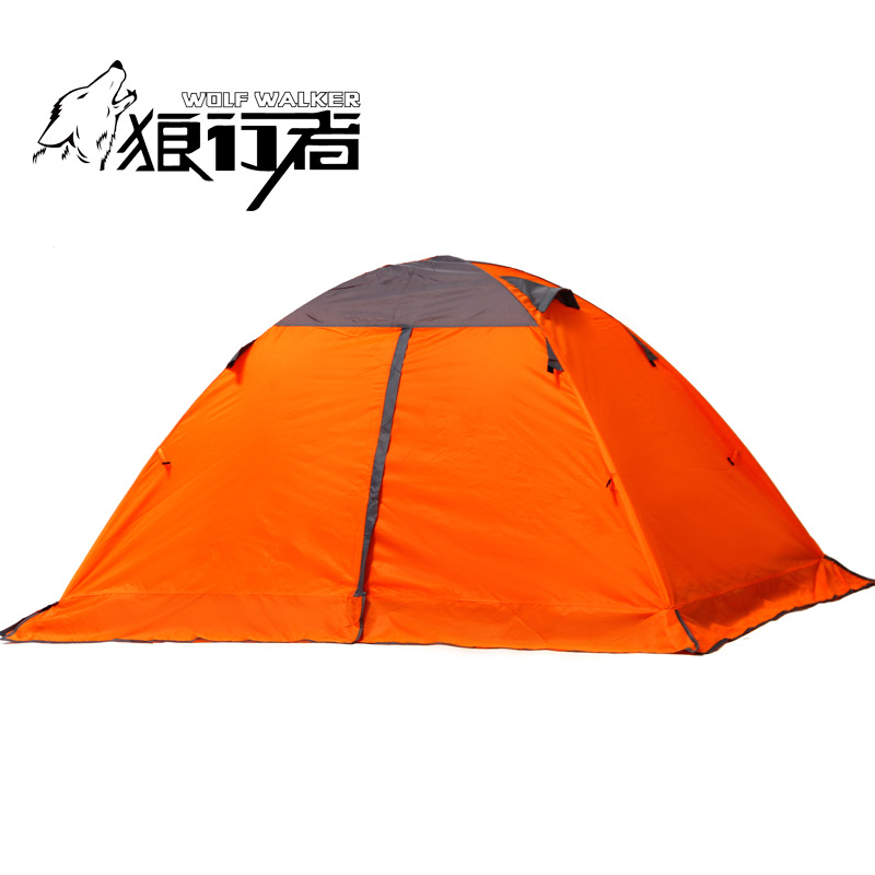 Outdoor camping tent camping automatically accounts for double 3-4 aluminum with skirts snow tent high quality outdoor 2 person camping tent double layer aluminum rod ultralight tent with snow skirt oneroad windsnow 2 plus