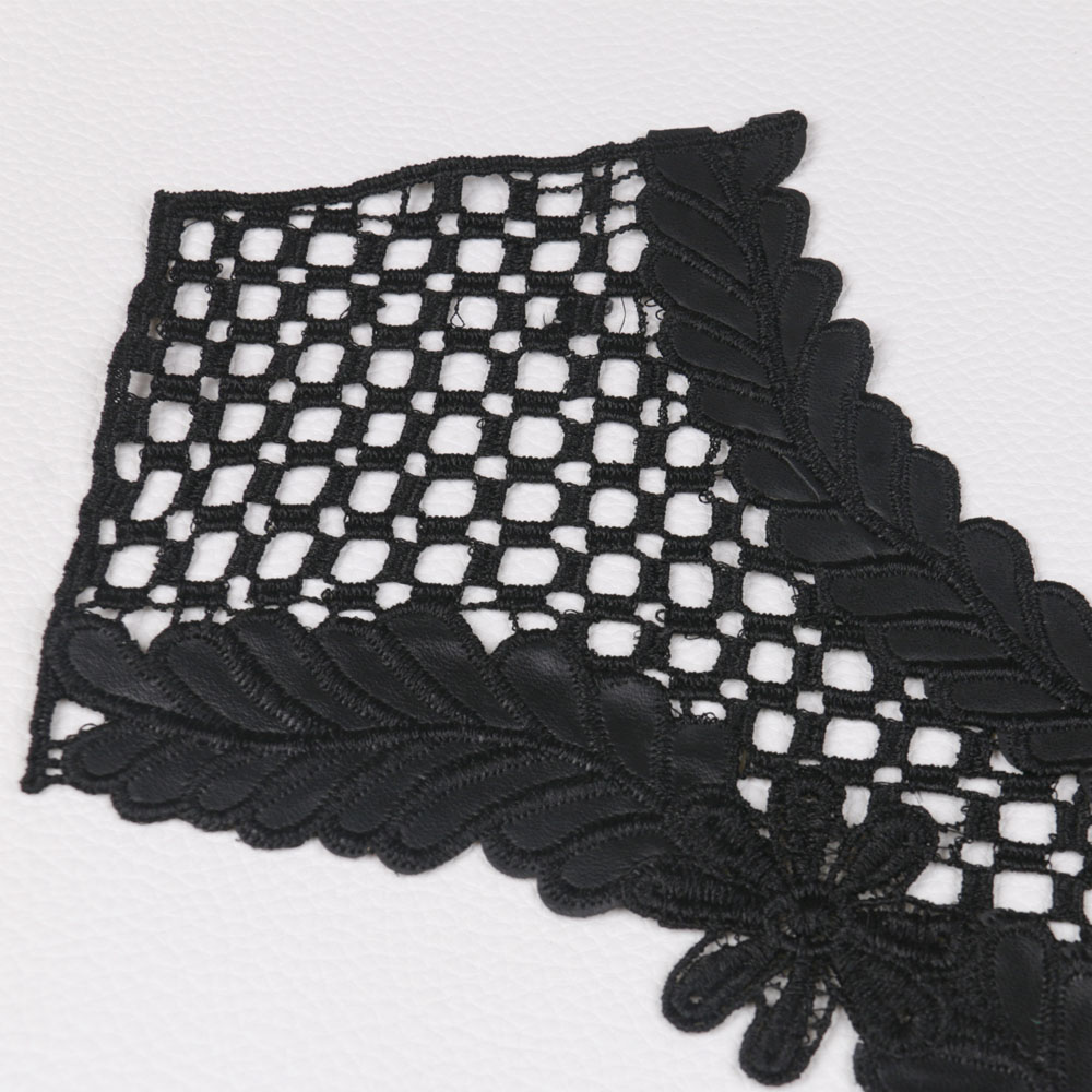 Black Embroidered Roses Lace Trim White Mesh Lace Fabric Costume DIY Fabric  Crafts Lingerie Bra Lace