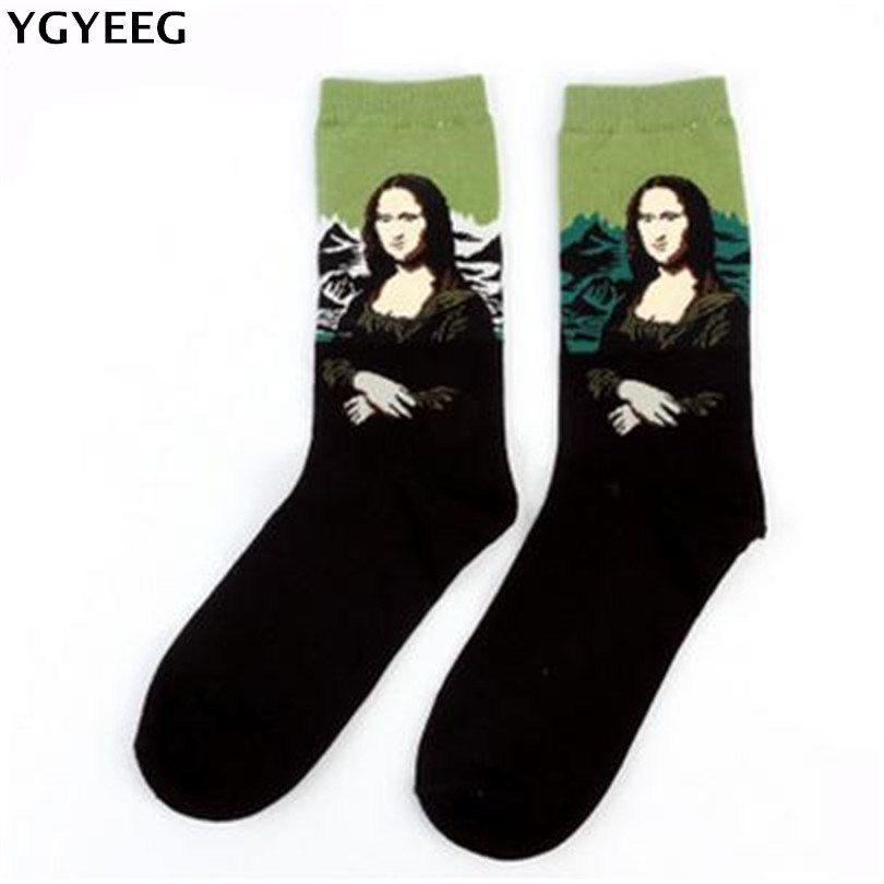 YGYEEG Fashion Art Cotton Crew Printed Socks Painting Character Pattern Women Men Hot Sale Design Sox Calcetine Novelty Funny