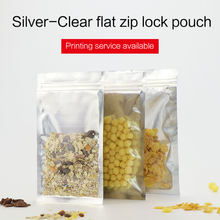 flat bottom pouch with zipper one side clear plastic aluminum foil zip lock bag resealable snacks food packaging(China)
