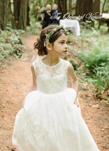 2017 Ivory Lace Plaża Kwiat Dziewczyny Sukienki Na Wesele Tanie Lato