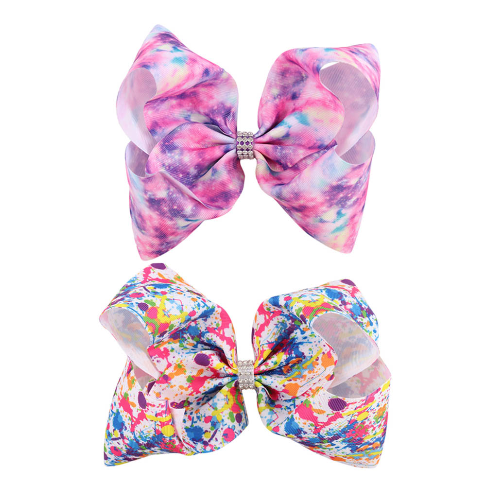 2 Pieces 7 Inch Pink Heart Starry Sky Princess Jumbo Hair Bow Handmade Graffiti Ribbon Hair Accessories for Girls