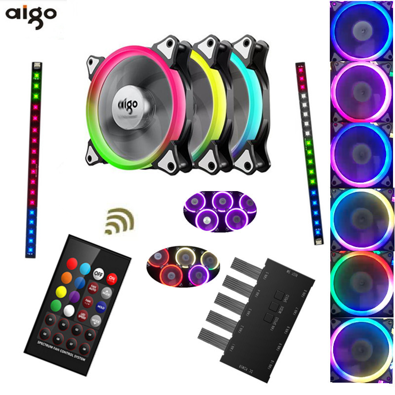 Aigo C3 C5 fan PC Computer Case Cooler Cooling fan LED 120 mm fans mute RGB fan 80 80 25 mm personal computer case cooling fan dc 12v 2200rpm 45cm fan cable pc case cooler fans computer fans vca81