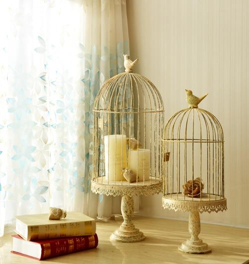 Home decoration French vintage retro finishing iron birdcage flower bird cage mousse