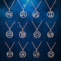 Special Birthday Gifts Zodiac Stainless Steel Necklaces Pendants Fashion PVD Gold Plated Jewelry For Women wholesales Rose Gold
