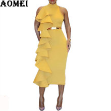 Women Yellow Slim Dress Patchwork Layers Ruffles Bodycon Dinner Evening Party Dresses Sleeveless 2019 Spring Summer New Tunics(China)