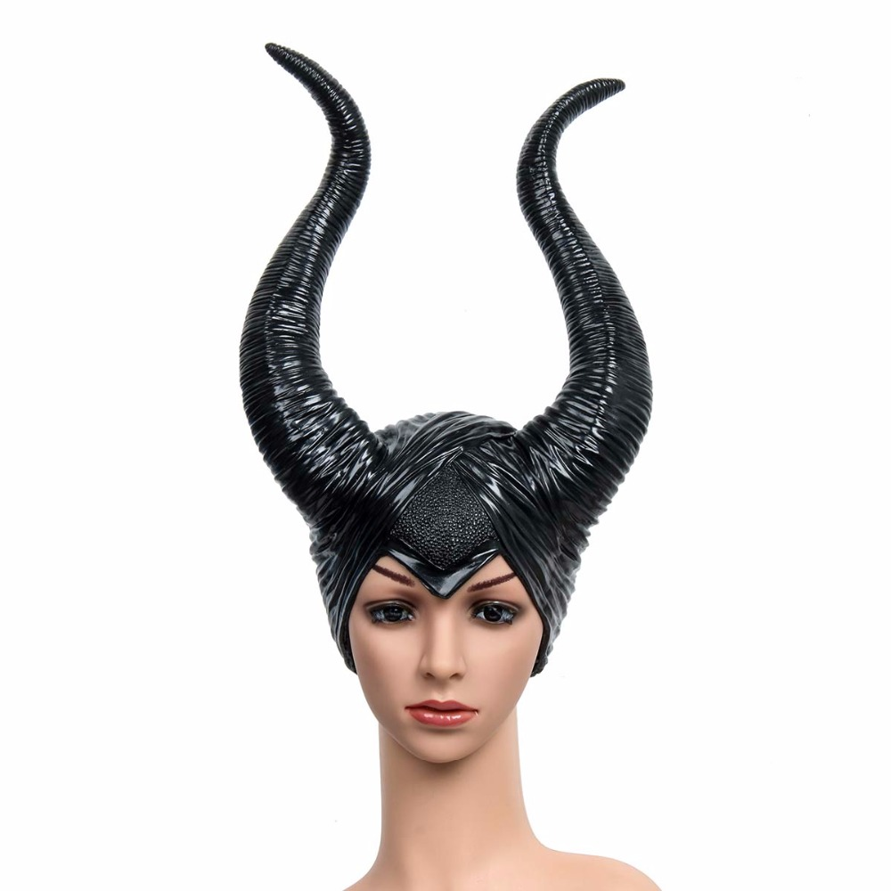 Us 19 67 40 Off Creepy Maleficent Horns Hats Mask For Adult Women Cosplay Halloween Party Costume Black Queen Headpiece Hat Cap Pvc Masks In Costume