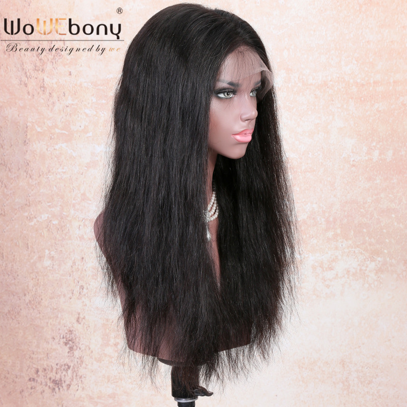 WoWEbony 150% Density 6 Inches Deep Part 360 Lace Wigs Indian Remy Hair Natural Straight Pre-plucked Hairline [N360NS01]