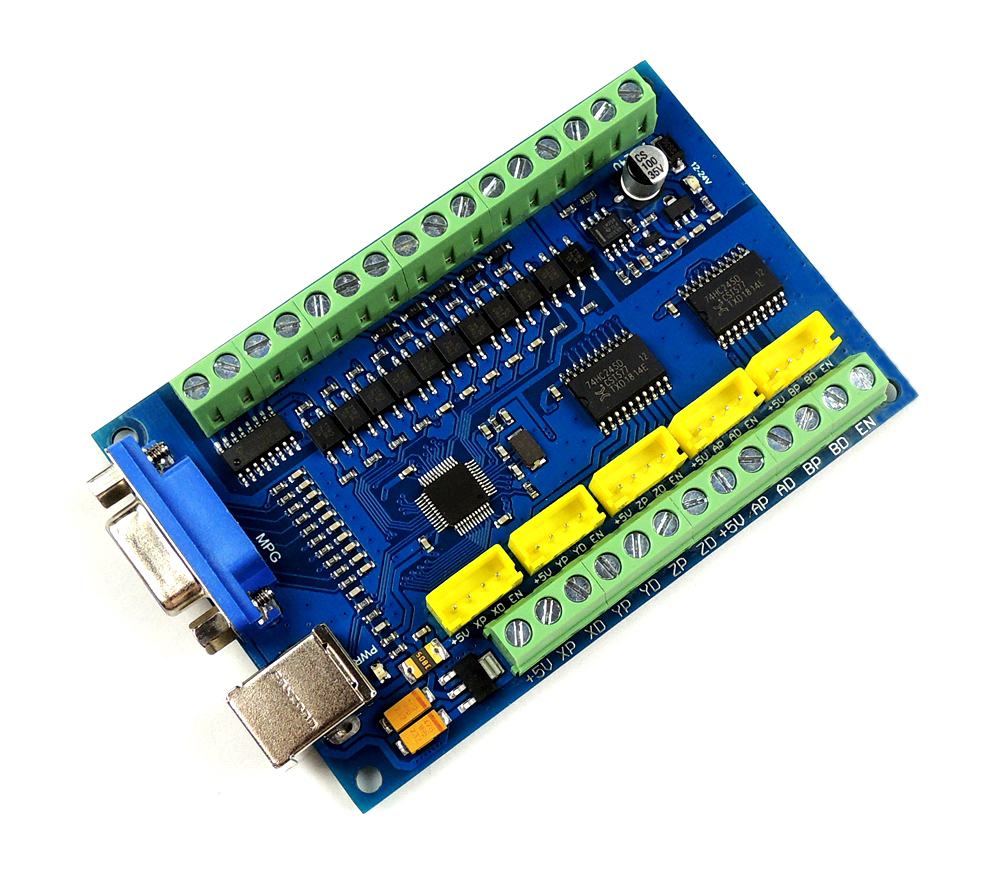 Free shipping CNC MACH3 USB 5 Axis 100KHz USBCNC Smooth Stepper Motion Controller card breakout board for CNC Engraving 12 24V