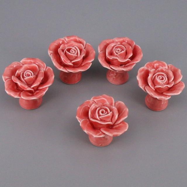 5pcs Vintage Fl Rose Ceramic Pull Handles Cabinet Door Cupboard Drawer S Pink For Children Furniture
