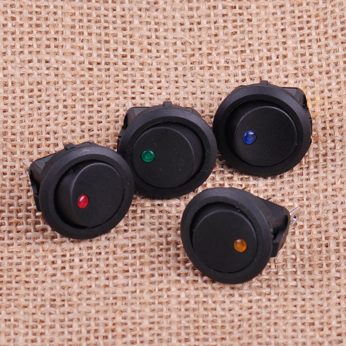 CITALL 4pcs 12V 3 Pins Car Auto Boat On / Off Round Dot LED Light Rocker Toggle SPST Switch for Flashing Chassis Dome Lights