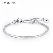 New Silver Bracelet Bangle Heart Chain Snake Womens Charm Bracelet With Lobster Clasp Fit Pan Charm Bead DIY Jewelry