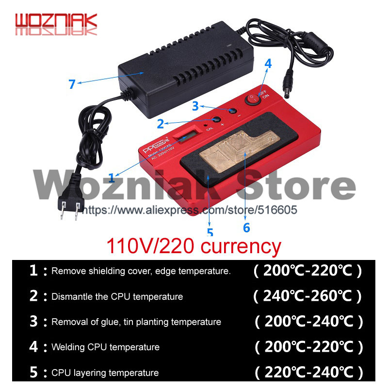 Wozniak PPD120E Upgrades Multi function BGA mobile phone motherboard CPU Glue removing and welding table for iphon x Android