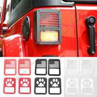 1Pair Black Red Silver Pawprint USA Flag Rear Tail Light Hoods Cover For Jeep Wrangler Rubicon