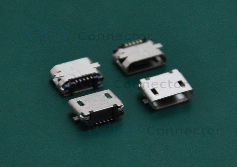 (30 pcs/lot)Type-B Micro USB Receptacle, SMT 2 Fixed feet, No edge curl, Commonly used in Board navigation