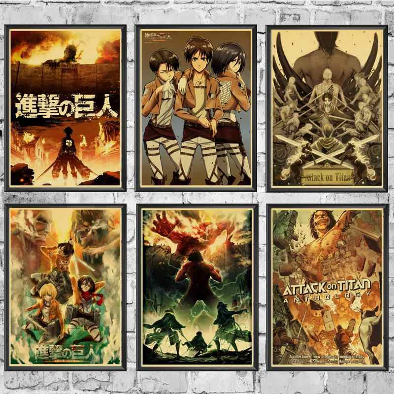 Japanese Anime Attack on Titan Retro poster For Home Living Room decoration Kraft Poster Painting Wall stickers Decals
