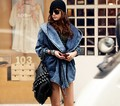 2016 Streetwear Plus Size Loose Casual Batwing Sleeve Denim Hooded Coat Asymmetric Hem Women Trench BF Style #371