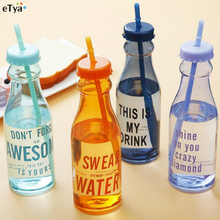 650ml Fashion Unbreakable Water Bottle Plastic Portable Sports With Straw My Creative Bottle BPA Free