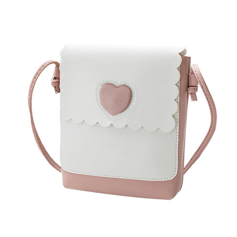 Fashion Teenage Girls Shoulder Bags PU Leather Heart Print messenger Bag