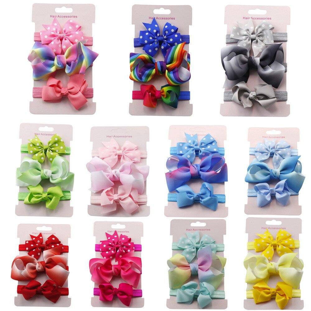 3 Stücke Set Baby Mädchen Elastisches Hairband Kinder Haar Tragen Für Kinder Kopf Band Blume Stirnband Baby Diy Headwear Haar Zubehör ZuverläSsige Leistung