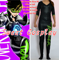 High Quality Only 1 piece Size M Game OW Tracer Costume black and green Sporty skin Tracer Base Jumpsuit Cosplay Costume